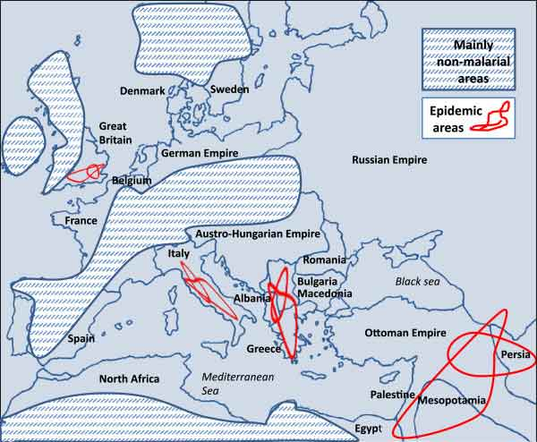 Map of malarial areas during World War 1.